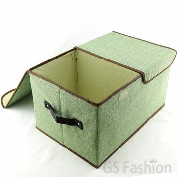 珍昕生活網:【珍昕】棉麻感雙格雙開收納箱(45.5X30X25CM)四色可選收納盒(免運)