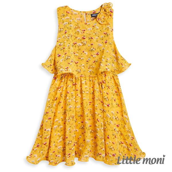 Littlemoni印花背心洋裝-黃色