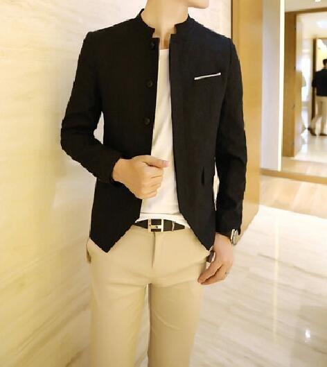 FINDSENSE品牌 韓國男 多扣燕尾下擺立領西裝 小西裝 修身西裝 西裝外套 單件外套