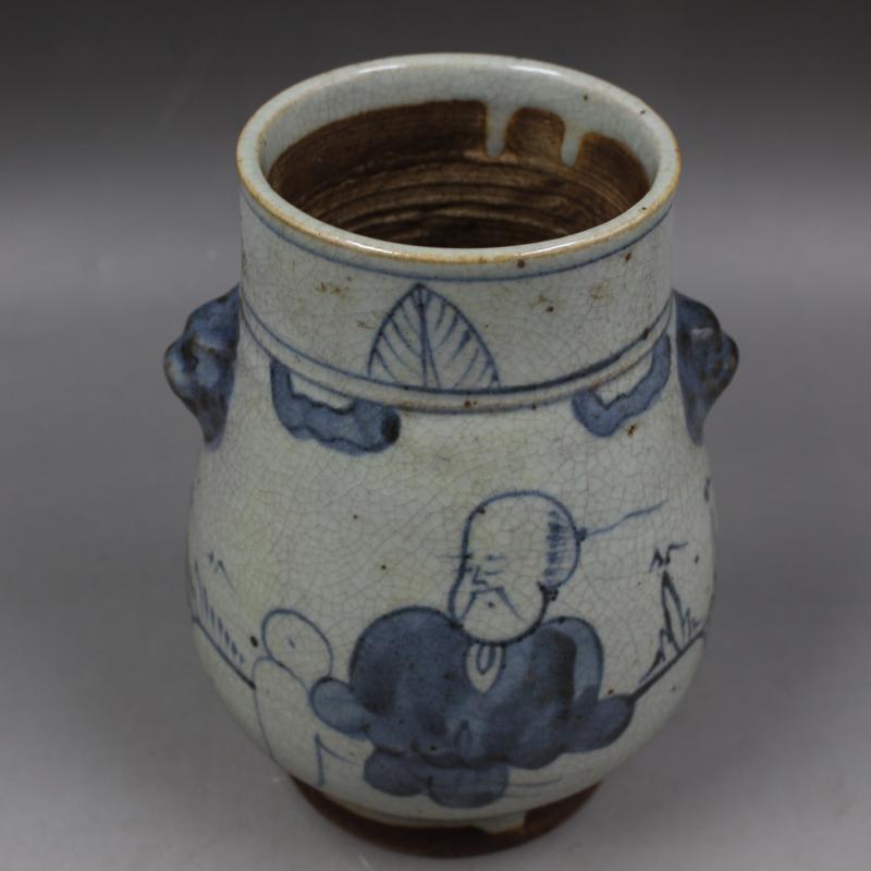清中期純手工青花人物虎頭罐福筒老貨仿古瓷器擺件古董古玩收藏1入