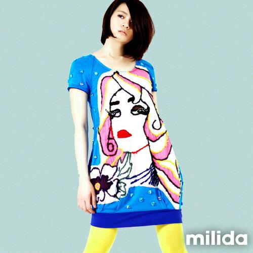 【Milida,全店七折免運】-夏季商品-拼貼款-插畫情人洋裝 5