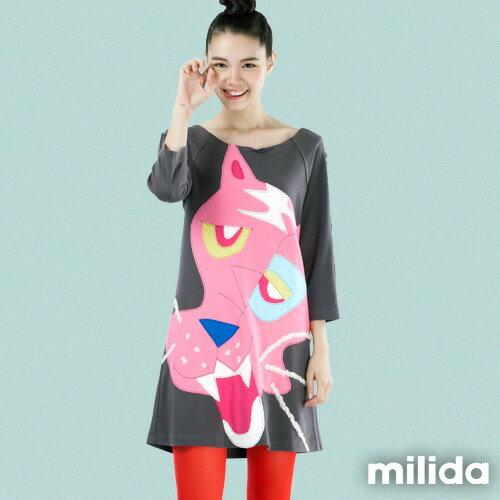 【milida】MMRYEA019☆粉紅老虎拼貼厚棉洋裝
