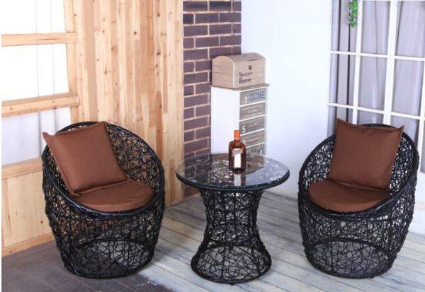 《Chair Empire》[一桌二椅]戶外休閒咖啡 洞洞桌椅 亂編造型 陽台桌椅組 泳池旁桌椅 附坐墊抱枕