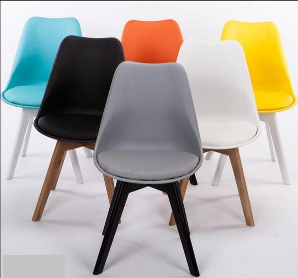 《Chair Empire》*免運*多色 !北歐DSW EAMES皮墊椅 伊姆斯餐椅北歐普普風餐椅 楓木腳椅 複刻版 電腦椅 書桌椅