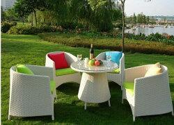 《Chair Empire》『一桌四椅』戶外桌椅 陽台桌椅 藤椅子茶几組合 庭院休閒桌椅 編藤桌椅 分期付款