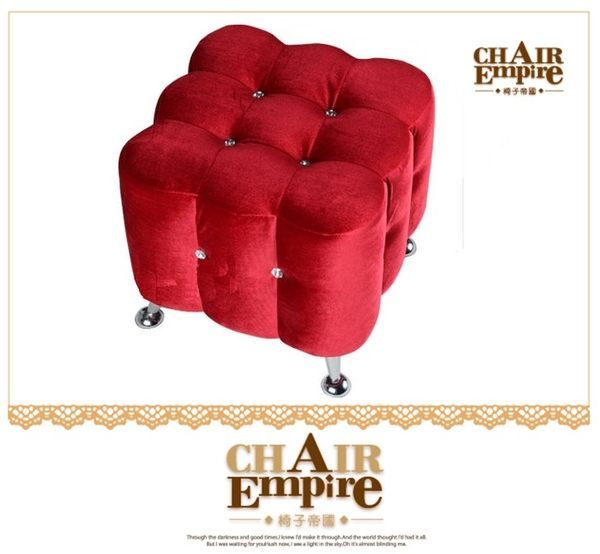 《Chair Empire》椅子帝國 換鞋矮凳 水晶鑲鑽矮凳 絨布品質優質感好(紅)