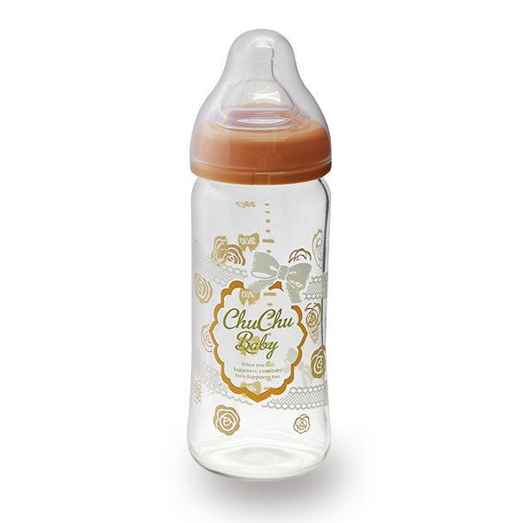 chuchu啾啾 蕾絲女孩寬口玻璃奶瓶-240ml
