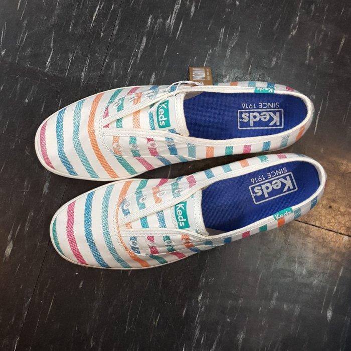 Keds 懶人鞋 彩色 彩虹 白色 帆布 條紋 可拆式鞋墊 舒適 鬆緊帶 不用綁鞋帶 水洗條紋 限時贈送Keds購物袋
