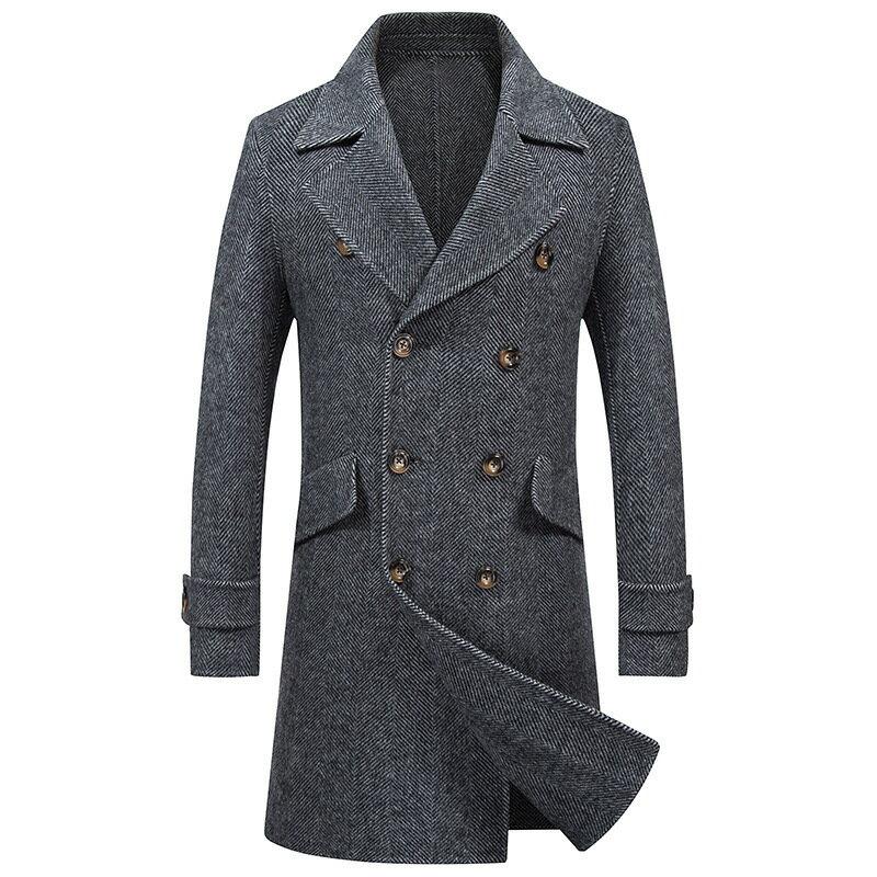 毛呢大衣中長版風衣-純色雙排扣翻領羊毛男外套2色73wk28【獨家進口】【米蘭精品】 2
