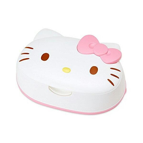 【真愛日本】15091800049日本製濕紙巾盒-立體頭形粉結  Hello Kitty 凱蒂貓  濕紙巾盒  重複使用  可攜式