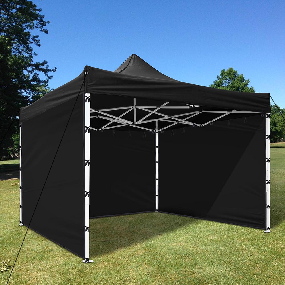 1Pc 10x10 Ft EZ Pop Up Canopy Tent Side Wall Party Tent Shelter Sun Wall  Sidewall Oxford Black