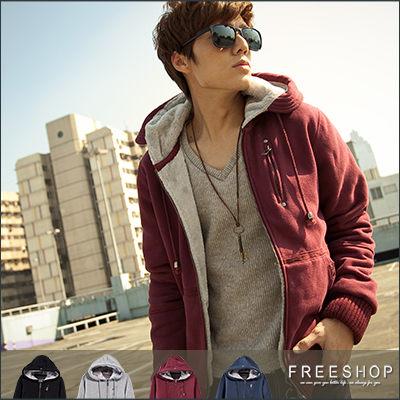Free Shop【QM10156】韓版高質感內裏全絨毛超保暖設計拉鍊口袋造型棉質連帽外套‧四色