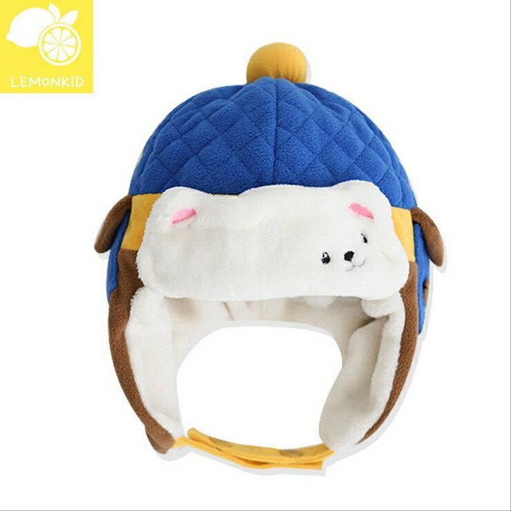 Lemonkid?秋冬超萌可愛北極熊菱格設計保暖造型兒童雷鋒護耳帽-寶藍