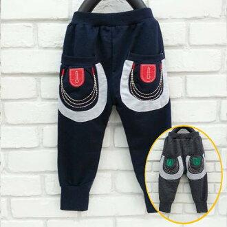 【班比納精品童裝】毛圈後口袋刺繡棉褲-灰/藍-兩色可選【BB150825001/BO150821010】