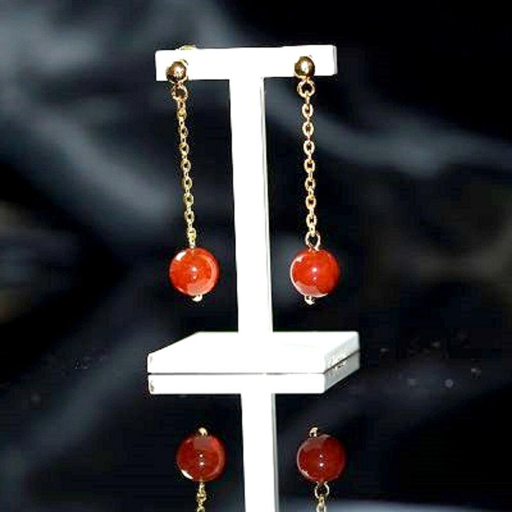 【喨喨飾品】龍紋瑪瑙 耳環飾品 閃耀著神祕風采 S345