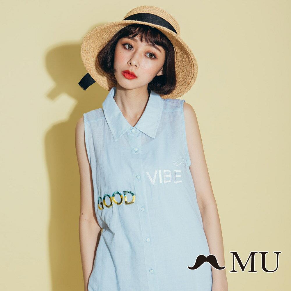 【MU】good vibe刺繡氣質無袖上衣 8323165 1
