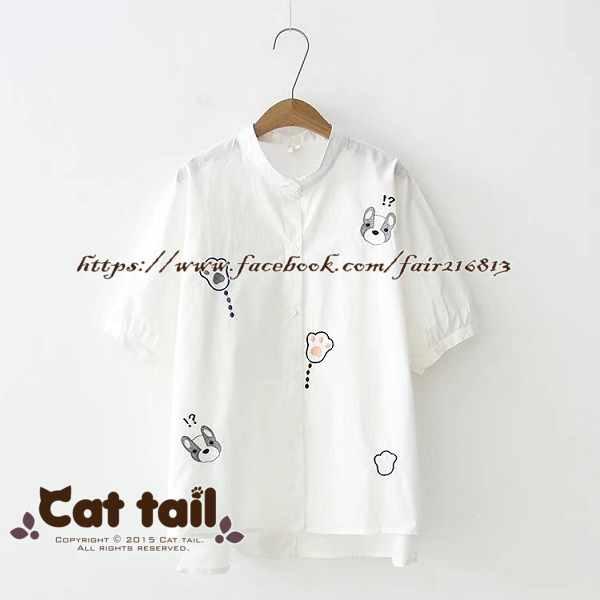 《貓尾巴》TS-0901小清新卡通狗狗刺繡短袖襯衫(森林系日系棉麻文青清新)