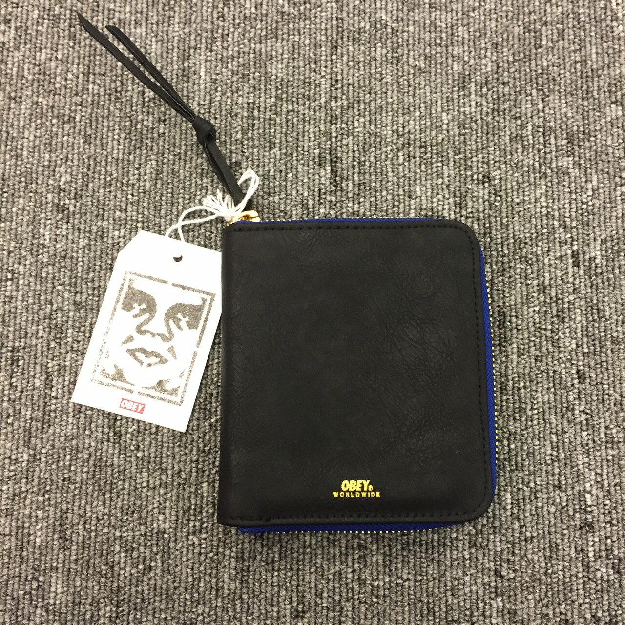 BEETLE 美國品牌 OBEY GENTRY ZIP AROUND WALLET 全黑 藍 卡夾 皮夾 短夾 100310086BLK OB-407 0