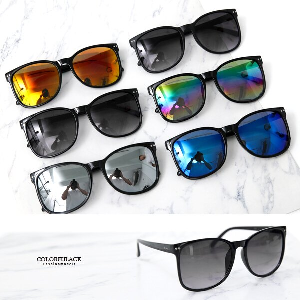 墨鏡 百搭方型反光鏡片膠框太陽眼鏡 抗UV400【NY433】