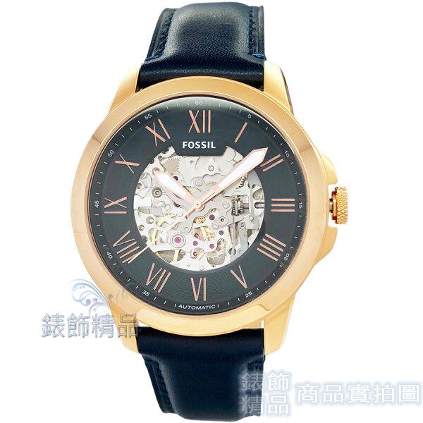 【錶飾精品】FOSSIL手錶ME3102鏤空機械男錶玫金框深藍色錶帶44mm全新原廠正品