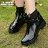 格子舖*【AR610】晴雨兩穿2ways 超防水 韓版質感亮面PVC 金屬扣環 中粗跟雨鞋/雨靴 馬丁靴 機車靴 黑色 0