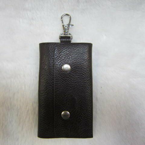 ~雪黛屋~SANDIA-POLO 專櫃品牌鑰匙包100%進口牛皮革材質6支鑰匙容量設計70-SA1301 素面深咖