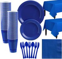 Royal Blue Plastic Tableware Kit for 50 Guests, Party Supplies