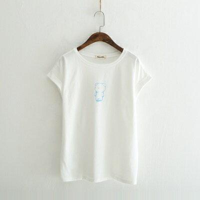 短袖T恤圓領上衣-清新簡約小熊印花女打底衫2色73sy26【獨家進口】【米蘭精品】