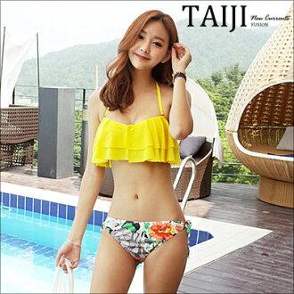 NTGBXP814泳裝比基尼‧夏日黃色花朵荷葉邊比基尼‧一色【NTGBXP814】-TAIJI-