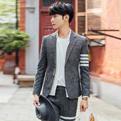 西裝外套西服套裝(二件套)-韓版撞色條紋設計面試男裝2色73hc69【獨家進口】【米蘭精品】