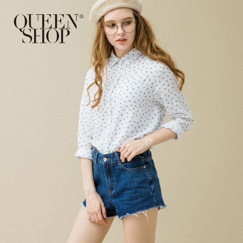 Queen Shop【01120107】滿版葉子圖案單口袋襯衫 S/M/L*預購*