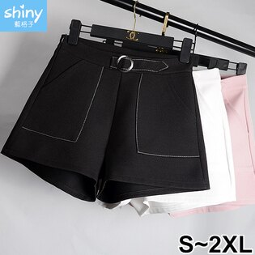 【V9503】shiny藍格子-簡約女孩.高腰圓環闊腿休閒褲