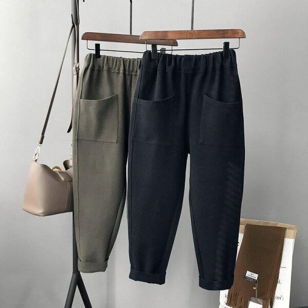 純色毛呢料大口袋哈倫褲直筒九分褲樂天時尚館。現貨。[全店免運]