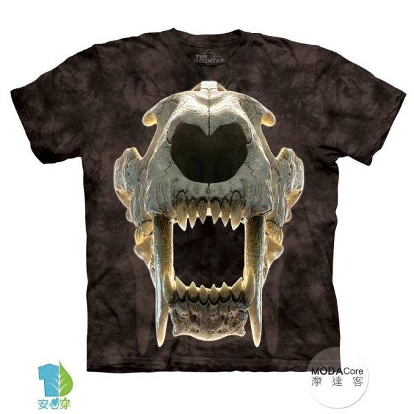 【摩達客】(預購)美國進口TheMountain劍齒虎骷髏純棉環保藝術中性短袖T恤