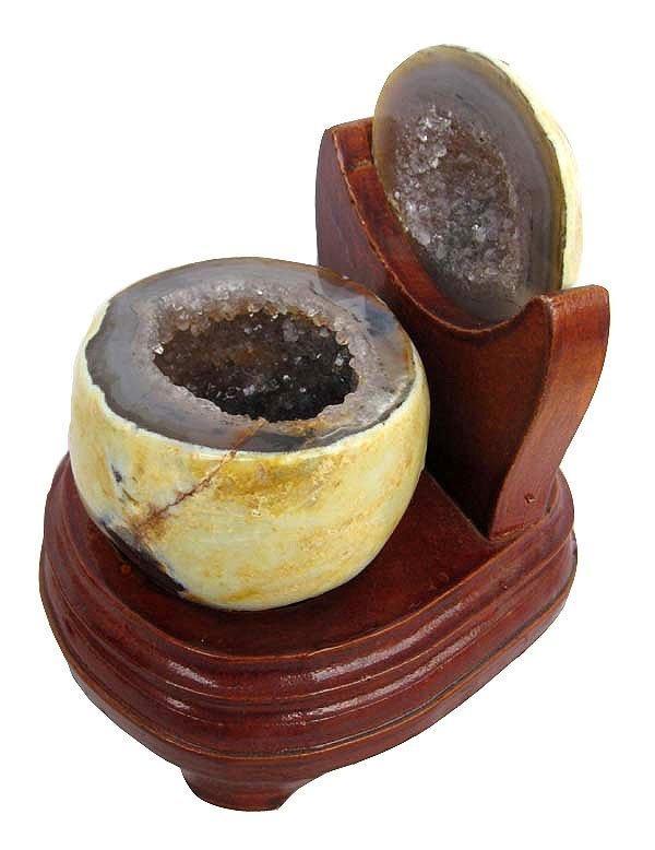大口水晶聚寶盆瑪瑙聚寶盆0.86kg瑪瑙洞水晶洞