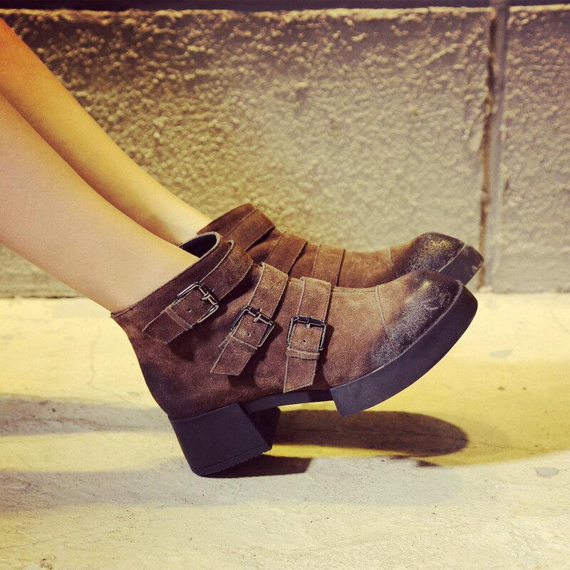 秋 粗跟扣環真皮黑色棕色短靴復古磨砂皮機車靴厚底 女靴防滑大頭鞋
