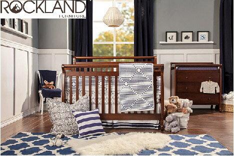 【Rockland】艾蜜莉四合一大床(褐色)-附贈床墊+床側護欄