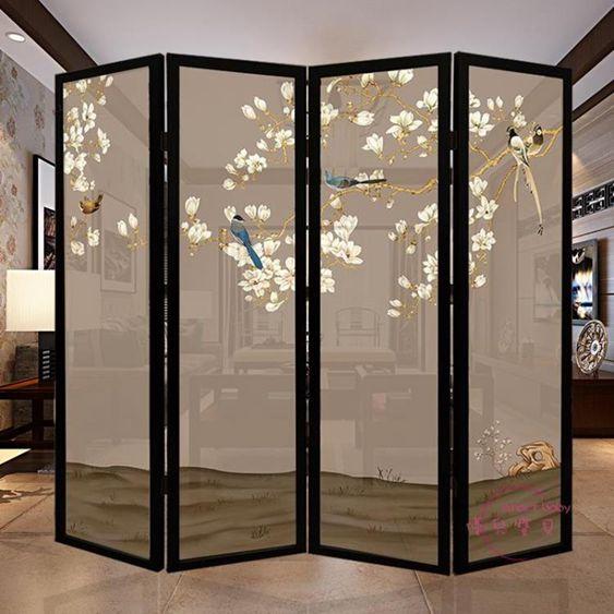 屏風現代中式簡約實木屏風隔斷客廳臥室玄關酒店移動折疊屏風半透折屏風  全館免運
