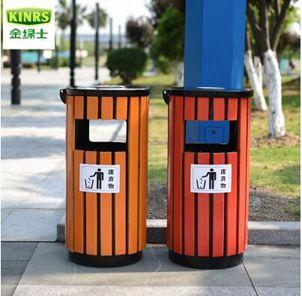 鋼木垃圾桶 單桶戶外防腐木木質垃圾桶果皮箱景區圓形環衛室外  全館免運