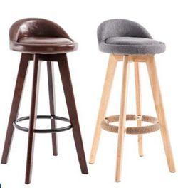 吧臺椅子實木酒吧椅前臺椅現代簡約奶茶店高腳凳家用旋轉創意吧椅  全館免運
