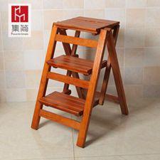 實木家用多功能折疊梯子三步梯椅梯凳室內登高梯木梯子置物架  全館免運
