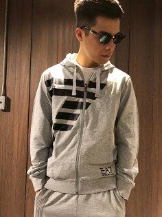 美國百分百【全新真品】EmporioArmani棉質外套連帽夾克EA7運動男裝精品灰色J104