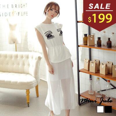 洋裝 眼睛黑白配色雪紡連身洋裝 小豬兒 MiNi Jule ~YAA51000030~