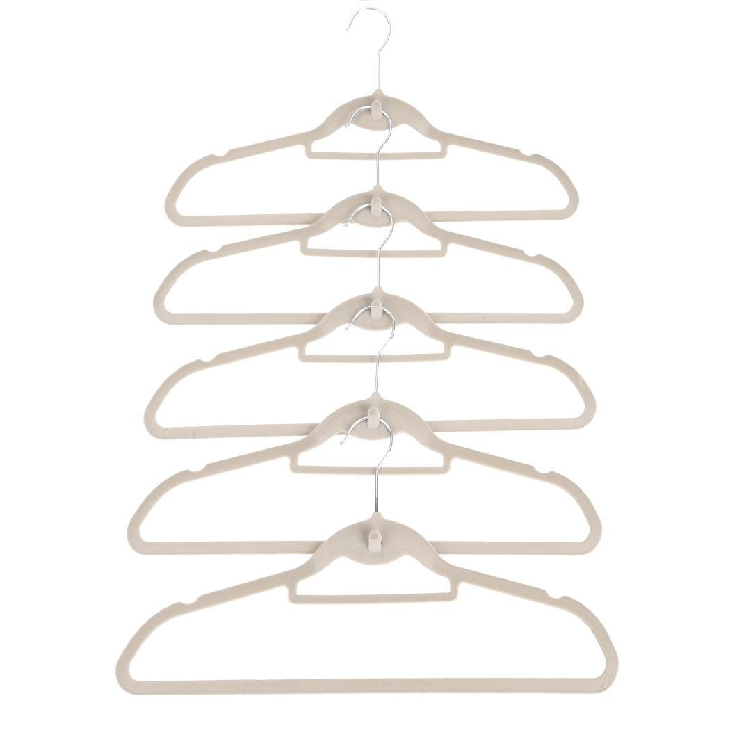 100Pcs Flocked Velvet Covered Anti-Slip Clothes Suite Hangers Closet Organizer 3
