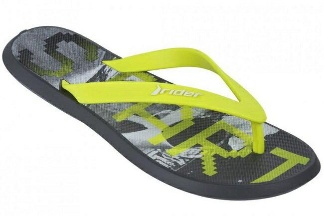 [陽光樂活]Rider (男) 巴西夾腳拖 時尚機能 ENERGY V AD F-RI8175324209 (塗鴉黃)