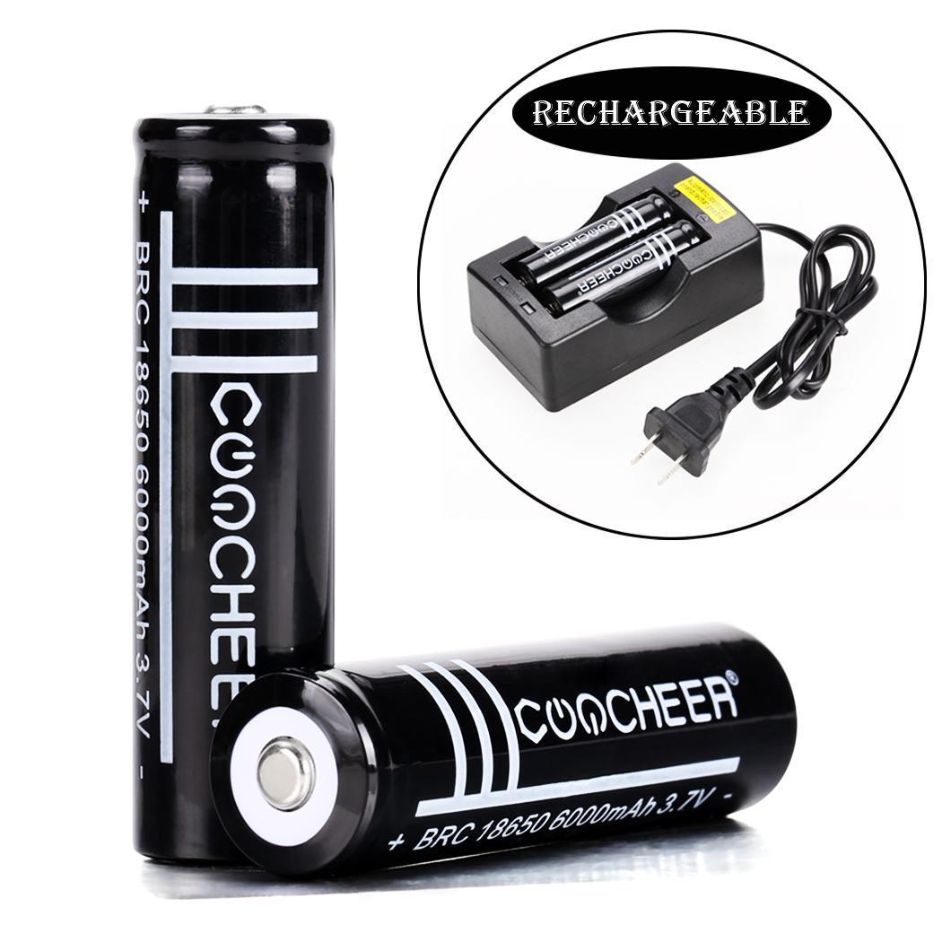 COOCHER 2PCS 18650 6000mAh 3.7V Rechargeable Li-ion Battery Black 3