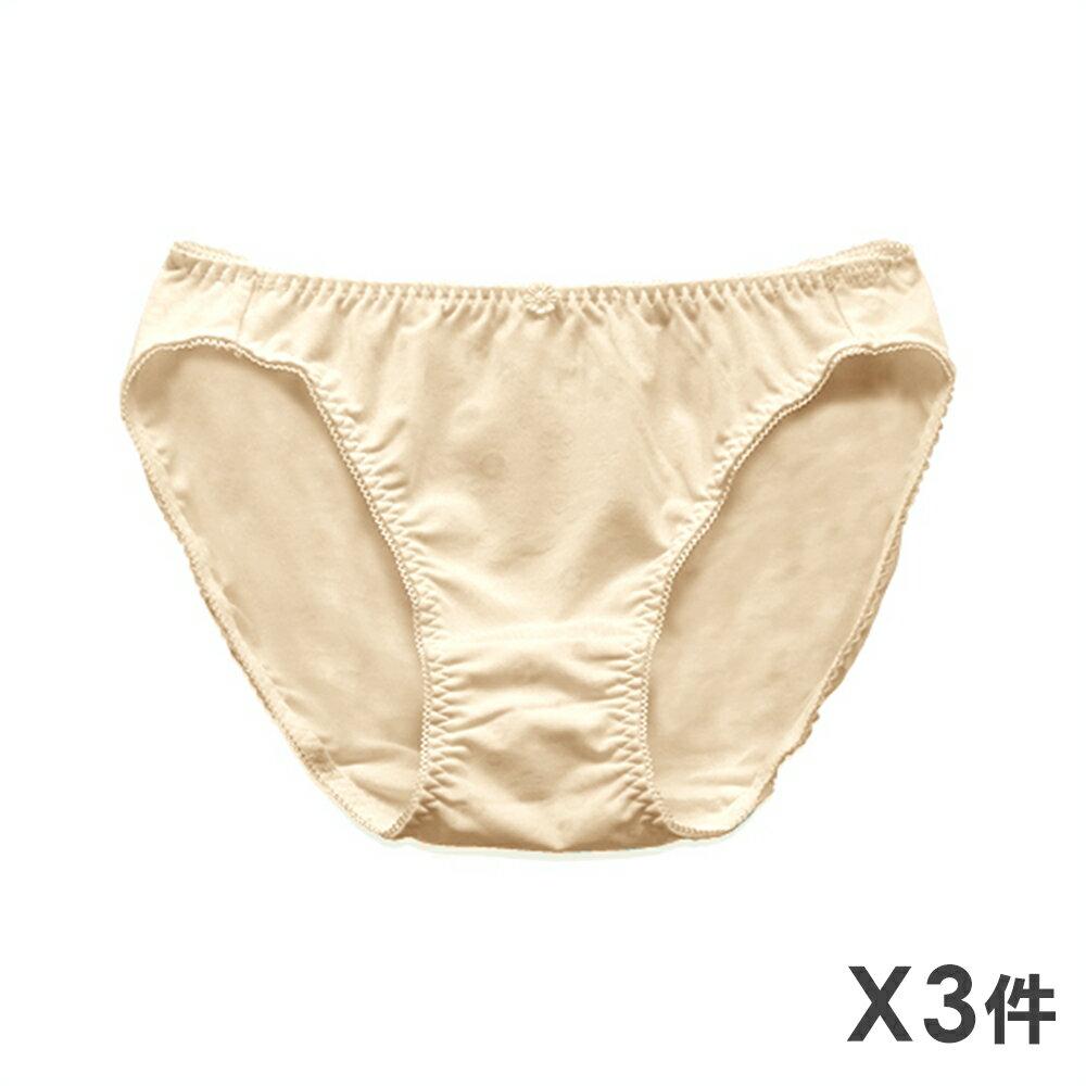 3件199免運【夢蒂兒】柔和花漾少女三角褲3件組(膚) 0