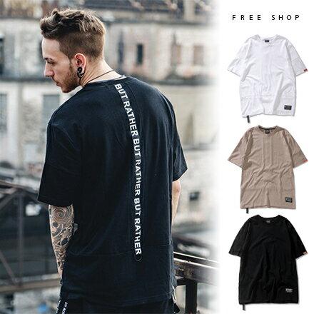 Free Shop 歐美潮流原創背後嵌條編織帶裝飾拼接圓領棉質短袖上衣短T恤 美式街頭品牌TEE【QAAMA7035】
