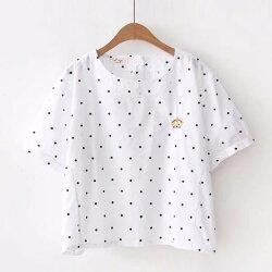 *漂亮小媽咪*森林系 皇冠 刺繡 短版 襯衫 圓點點 短袖 襯衫 包袖 襯衫 C8891