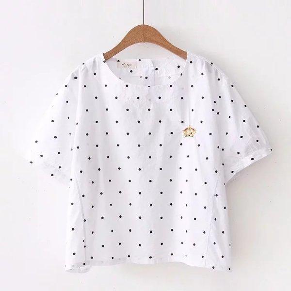 *漂亮小媽咪*森林系皇冠刺繡短版襯衫圓點點短袖襯衫包袖襯衫C8891